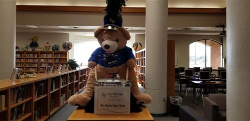Library Bear supports the band