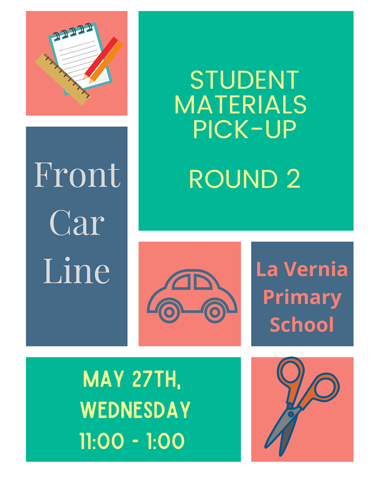 ROUND 2 STUDENT SUPPLIES PICK UP- MAY 27th